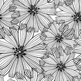 Black and white  seamless pattern of abstract flowers. Royalty Free Stock Image