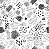 Black and white seamless pattern with abstract ink elements and doodles. Modern fashion design. Vector illustration. Good for textile design or wrapping Stock Images