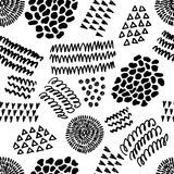 Black and white seamless pattern with abstract ink elements. Stock Photo
