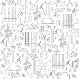 Black and white seamless pattern with alchemical equipment. Royalty Free Stock Photos