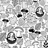 Black and white seamless pattern with autumn forest gifts. Stock Images