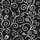 Black and white seamless pattern background with scroll ornament. Vintage element for design in line art style Stock Photo