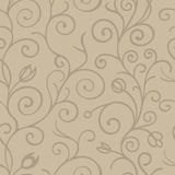 Black and white seamless pattern background with scroll ornament. Vintage element for design in line art style Stock Photography