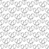 Black and white seamless pattern with balloons for coloring book. Festive background. Vector illustration Royalty Free Stock Images