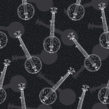 Black and White Seamless Pattern with Banjos Stock Images