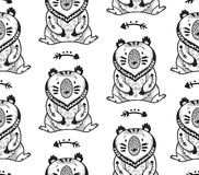 Black and white seamless pattern with bears Stock Image