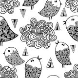 Black and white seamless pattern with birds and clouds. Royalty Free Stock Photo