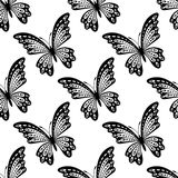 Black and white seamless pattern of butterflies Stock Image