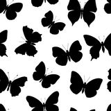 Black-and-white seamless pattern butterfly Stock Photography