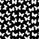 Black-and-white seamless pattern butterfly Stock Image