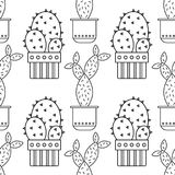 Black and white seamless pattern of cacti and succulents for coloring books, pages. Stock Photo