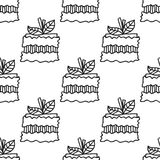 Black and white seamless pattern with cakes for coloring books. Royalty Free Stock Photos