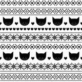 Black and white seamless pattern with cats for kids holidays. Scandinavian sweater style. Stock Photography