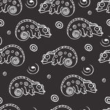 Black and white seamless pattern with chameleon. Stock Photos