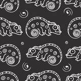 Black and white seamless pattern with chameleon. Royalty Free Stock Photo