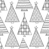 Black and white seamless pattern with Christmas trees for coloring Stock Photo