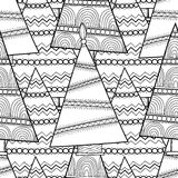 Black and white seamless pattern with Christmas trees for coloring Royalty Free Stock Images