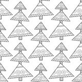 Black and white seamless pattern with Christmas trees for coloring Royalty Free Stock Photo