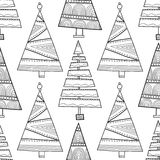 Black and white seamless pattern with Christmas trees for coloring. Black and white seamless pattern with decorative Christmas trees for coloring book. Winter Stock Photos