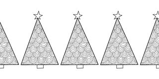 Black and white seamless pattern with Christmas trees for coloring Stock Photos