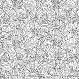 Black and white seamless pattern for coloring book. Sea life. Black and white seamless pattern for coloring book. Sea shells, starfish, sea horse, fish doodle Stock Images