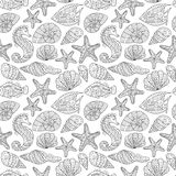 Black and white seamless pattern for coloring book. Sea life. Black and white seamless pattern for coloring book. Sea shells, starfish, sea horse, fish doodle Stock Photo