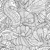 Black and white seamless pattern for coloring book. Sea life. Black and white seamless pattern for coloring book. Sea shells, starfish, sea horse, fish doodle Royalty Free Stock Images