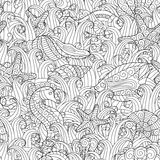 Black and white seamless pattern for coloring book. Sea life. Black and white seamless pattern for coloring book. Sea shells, starfish, sea horse, fish between Stock Image
