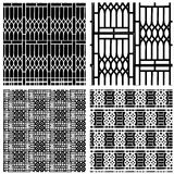 Black and white seamless pattern of curved stee Stock Photography