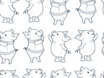 Seamless pattern with cute cartoon pigs stock illustration