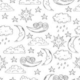 Black and white seamless pattern with cute doodle sun, moon, clouds and stars. Stock Photography