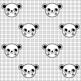 Black and white seamless pattern with cute monkey character on grid background Stock Photos