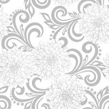 Black and white  seamless pattern with dahlia flowers and abstract floral swirls Stock Photos