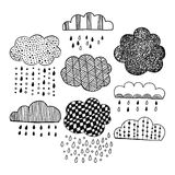 Black and white seamless pattern with decorative clouds for coloring. Stock Image