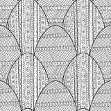 Black, white seamless pattern of decorative eggs for coloring page. Stock Images