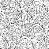 Black, white seamless pattern of decorative eggs for coloring page. Black and white decorative linear seamless pattern of ornamental eggs for coloring page Stock Photos