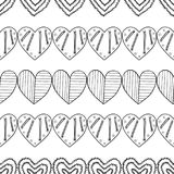 Black and white seamless pattern with decorative hearts for coloring book, page. Romantic ornament. Stock Photography