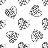 Black and white seamless pattern with decorative hearts for coloring Royalty Free Stock Photo