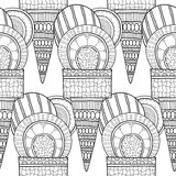 Black white seamless pattern with decorative ice cream for coloring. Stock Photo