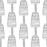 Black white seamless pattern with decorative ice cream for coloring. Royalty Free Stock Image