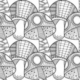 Black, white seamless pattern with decorative mushrooms for coloring book. Black and white seamless pattern with decorative mushrooms for coloring book Stock Images