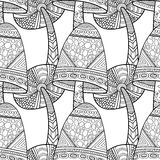 Black, white seamless pattern with decorative mushrooms for coloring book Royalty Free Stock Photo