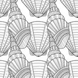 Black white seamless pattern with decorative sea shells for coloring Stock Photography
