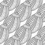 Black white seamless pattern with decorative sea shells for coloring Stock Image