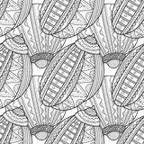 Black white seamless pattern with decorative sea shells for coloring Stock Images