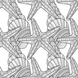 Black white seamless pattern with decorative sea shells for coloring Stock Photo