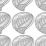 Black white seamless pattern with decorative sea shells for coloring Stock Photos
