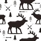 Black and white with seamless pattern with deers, fir-trees, arrows vector illustration