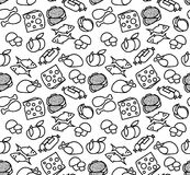 Black and white seamless pattern with different food. There are. Cheese, fish, mushrooms, chicken and ect Royalty Free Stock Image
