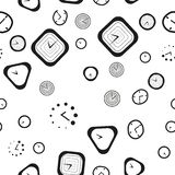 Black and white seamless pattern with the different types of clock Royalty Free Stock Photo